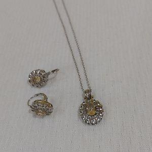 Silver citrine & created white sapphire set